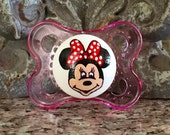 Minnie Mouse Custom Hand Painted Pacifier by PiquantDesigns