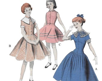 Butterick 7600 Girl's 50s Dress with Long Line Bodice Breast 26 Sewing Pattern