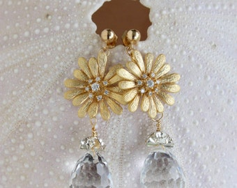 GOLD FLOWER Earrings With a Large Swarovski Crystal Drop Capped with a Silver Rhinestone, Bridal, Special Occasion, Wedding, Gold Post