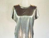 Bentley Silver Liquid Metal Shirt Top Glam