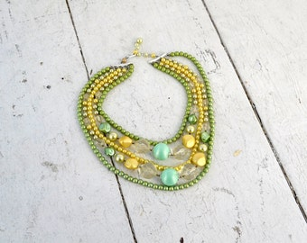 1960s Green Multi-Strand Pearl Necklace