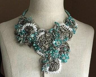 SIREN SONG Gunmetal Silver White Aqua Beaded Textile Necklace