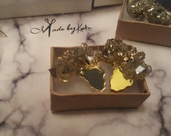 GOLD-Glitter Glass crusted Africa Mirror Studs