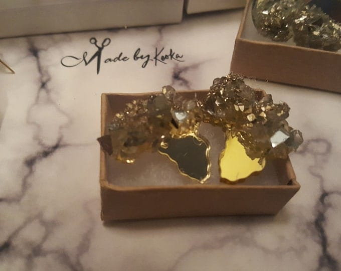 GOLD-Glitter Glass crusted Africa Mirror Studs