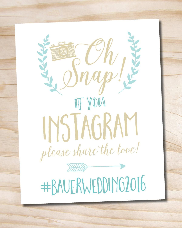 Instagram Wedding: Oh Snap Instagram Wedding Sign 8x10 Printable Wedding Sign