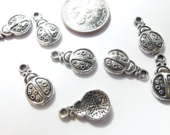 8-Cute Little Tibetan Silver Lady Bug Charms Pendants Dangles 9 x 16mm