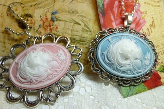 Sky Blue or Pink Modern 40 X 30 Sisters or Mother Daughter or Two Women Cameo Pendant Necklace