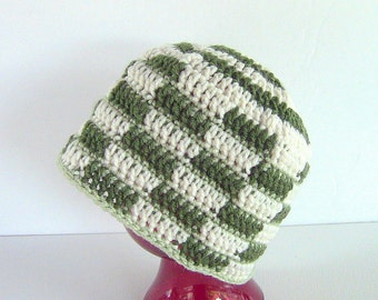 SALE, Beanie, Green Plaid Beanie, Crocheted Plaid Beanie, Green Plaid Hat
