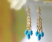 Turquoise Gold Branch Earrings, Dangle Earrings, Drop Earrings, Chandelier Earrings, Birthstone, Bridal Jewelry, Wedding, Southwest Earrings