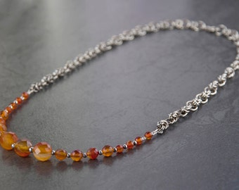 Sterling silver agate necklace. Silver chainmaille jewellery. Beaded gemstone jewelry. Orange stone silver necklace. Pantone colour Flame.