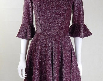 Original Vintage 1960s Burgundy Lurex Mini Dress UK Size 6