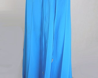 Original Vintage 1970s Bright Blue Maxi Skirt UK Size 12
