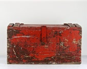 Wood Trunk, Tool Chest, Red Primitive Carpenters Trunk, Trunk, Wood Chest