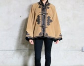 Jacket, 90s vintage tan and black eternal knot Asiatic toggle front jacket, wide sleeves, bohemian boho minimal, womens large l