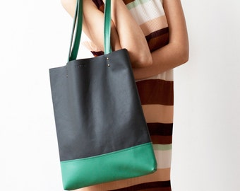 Xmas in July SALE Charcoal Grey And Emerald Green Leather Tote bag