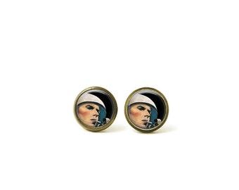 David Bowie Major Tom Glass Dome Stud Earrings 173E