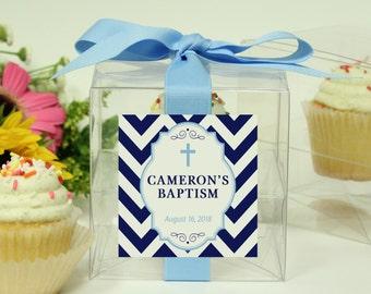 Baptism Favor Cupcake Boxes - Chevron Design - ANY COLOR - Christening Favors | Baptism Labels | Cross Labels | Religious Favors - Set of 8