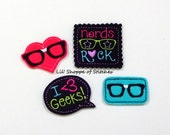 FELTIE Nerdy Mix #2 - I Heart Geeks and Nerd Embroidered Felties-*UNCUT* (Set of 4)