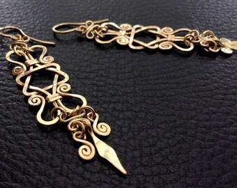 Gold STAR of DAVID Earrings, 14k gold filled long dangle earring, magen david, judaica earring, ethnic, tribal earring, long drop earrings