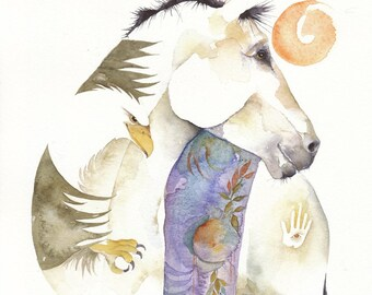 Silkie white HORSE eagle 8 x 10 watercolor giclee PRINT - mystical healing native american  - Free Shipping