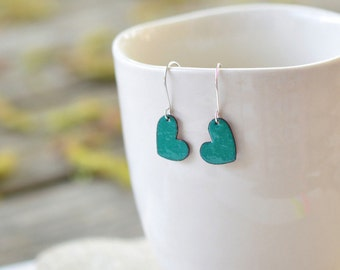 Small heart earrings - small enamel earrings - teal green color - heart shaped earrings - handmade jewelry by Alery