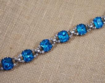 1930s Eisenberg Original Rare Sterling Silver and Aqua Crystal Rhinestone Bracelet FREE Shipping