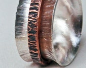 Sterling Silver and Copper Spinner Ring B Size 9.5 Hand Forged