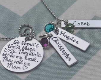 Mother's Necklace - So There's These Boys - Hand Stamped Personalized Pendant - Grandma - Mother's Day - Grandparents Day - Mom to Boys