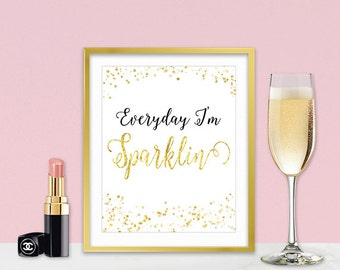 Inspirational Wall Art - Gold Sparkle Quotes - Inspirational Gift For Women - Sparkle Collection - Gold Home Decor