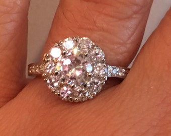 STERLING SILVER Cubic Zirconia ENGAGEMENT Cz Bling 5.0 Grams Ring Size 9.25