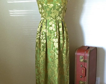 50s 60s Lime Golden Rayon Brocade Maxi Wiggle Dress, 1950's Vintage Evening Gown, Glamour Floral Dress, Size XXS Petite