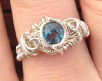 Blue Topaz wire wrapped ring in Sterling Silver size 8.5