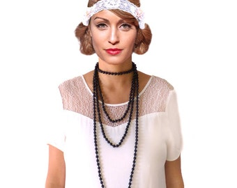 Retro Black Pearl Necklace, Flapper Accessories, Evening Long Bead, Roaring 20s Great Gatsby,Woman Jewelry Accessory Downton Abbey Sautoir
