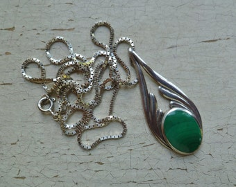 Malachite Sterling Silver Pendant Necklace. Long Box Chain. Vintage 1980s 1990s. Green Gemstone Stone.