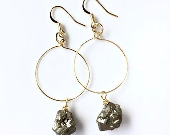 Raw Pyrite Crystals . Gold Hoops . Earrings