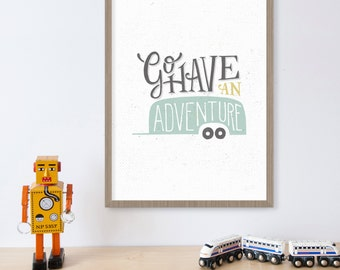 Go Have an Adventure Camper Decor, Travel Gift, Camping Signs, Camping Decor, Adventure Print, Happy Camper, Vintage Camper, Travel Print