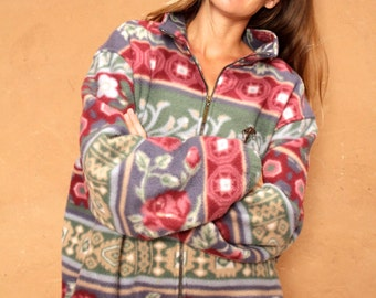 vintage FLORAL FLEECE oversize slouchy 90s vintage sweatshirt cozy jacket coat