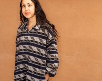 90s SLOUCHY ikat style parka SOUTHWEST oversize large columbia brand FLEECE sweatshirt jacket