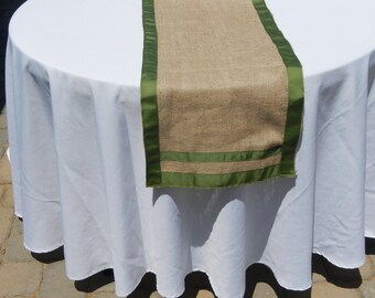 Burlap Table Runner with Ribbon Trim, Wedding, Shower, Party, Home Decor, Custom Size, Custom Colors Available