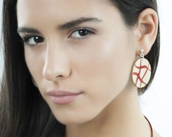 Wooden bohemian dangle earrings, Silver long earrings, Statement wood earrings, Trendy earrings for women, Minimalist modern jewelry