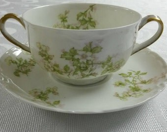 "Limoges Tea Cup and Saucer; Bouillon Set by Haviland called ""The Montebello""  circa 1884-1931-  170"