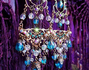 Long Aquamarine Crystal Chandelier Earrings, Bright Blue Renaissance Filigree Earrings, Antique Gold East Indian Gypsy Jewelry, Custom Color