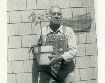 "Vintage Photo ""Mr. Planters"" Snapshot Antique Photo Black & White Photograph Found Paper Ephemera Vernacular - 151"