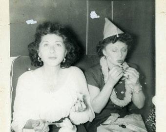 "Vintage Photo ""Having Party Snacks"" Snapshot Antique Photo Black & White Photograph Found Paper Ephemera Vernacular - 112"