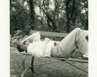 "Vintage Photo ""Migraine at the Park"" Snapshot Antique Photo Old Black & White Photograph Found Paper Ephemera Vernacular - 136"