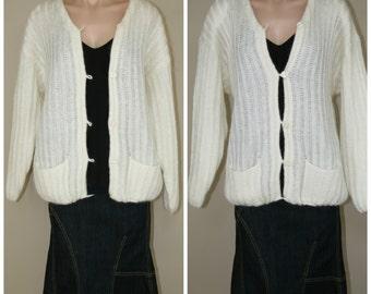 Oversized Grunge Slouchy Ivory Mohair Blend Soft Grandpa Cardigan Sweater sz M L