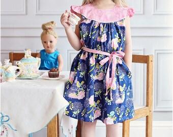 Tea Party Dress & Top: Flutter Sleeve Dress Pattern, Girls Dress Pattern