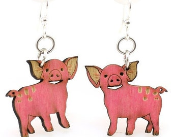 Piglet  Wood Earrings - Made in the USA