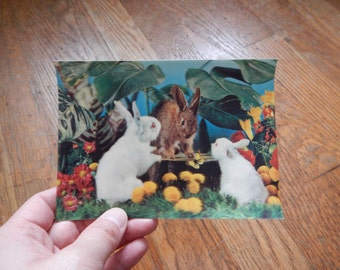 Vintage 3D Postcard Woodland Rabbits - 1960s / Retro Kitsch Forest Scene with Bunnies, Scrapbooking Ephemera Printed in Japan, Free Shipping