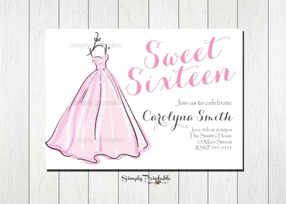 Sweet Sixteen Invitation, Girls Birthday Invite, Bridal Shower